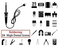 Set of 24 Soldering Icons. In Black Color.Vector illustration Royalty Free Stock Photos