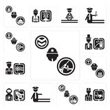 Set of Soldier, Doctor, Cashier, traffic police, Spaceman, Farmer, Sailor, Magician, Firefighter icons. Set Of 13 simple editable icons such as Soldier, Doctor Stock Photo