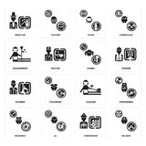 Set of Soldier, Firefighter, Mechanic, Cleaner, Plumber, Singer, housekeeper, Diver, Magician icons. Set Of 16 simple  icons such as Soldier, Firefighter, DJ Stock Photo