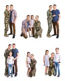 Set with soldier and her family on white background. Military service stock image