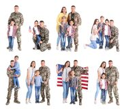 Set with soldier and his family on white background. Military service stock photo