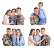 Set with soldier and his family on white background. Military service royalty free stock image