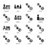 Set of Soldier, Singer, Pilot, Waiter, Welder, Sailor, Secretary, Mechanic, Firefighter icons. Set Of 16 simple  icons such as Soldier, Singer, Detective, Pilot Stock Photo