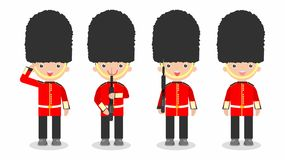 Set of soldiers, British Soldiers with weapon, kids wearing soldiers costumes stock illustration