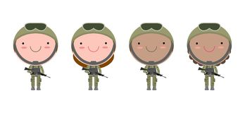 Set of soldiers. men and women. flat cartoon character design isolated on white background. US Army vector illustration