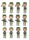 Set of soldiers. men and women. flat cartoon character design on white background vector illustration