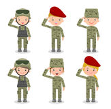 Set of soldiers. men and women. flat cartoon character design on white background royalty free illustration