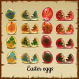 Set of solid and broken coloured Easter eggs Stock Photography