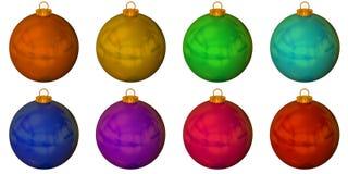 Set of solid colour christmas balls stock image