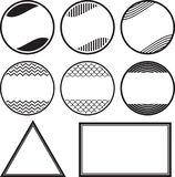 Set of 8 solid style rubber stamps templates.  Royalty Free Stock Image