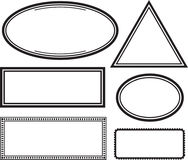Set of solid templates for rubber stamps. Vector illustration. Royalty Free Stock Images