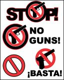 Stop. No guns. Set 1. A set of some logos about nonviolence. Without firearms, on a neutral white background Stock Image
