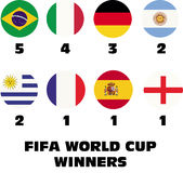 Fifa world cup winners. Set of some national soccer teams Royalty Free Stock Image