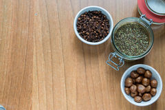 Set of some spices. On a wood background Royalty Free Stock Photo