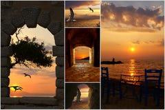 Set Sommerfotos am Sonnenuntergang in Santorini islan Lizenzfreies Stockbild