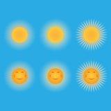 Set Sonnen Sun in Form eines smiley vektor abbildung
