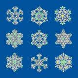 Set sophisticated snowflake design element. Line structure minimal vector decor royalty free illustration
