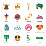 Set of sorry, thistle, saudi palm, anarchy, eshop, viewfinder, travel, scissors, bullshit icons. Set Of 16 simple  icons such as sorry, thistle, nova, saudi palm Royalty Free Stock Image