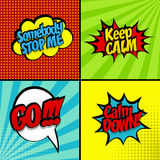 Set sound effect pop art style stop, keep calm Royalty Free Stock Photography
