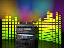 Set of sound electronic devices 3d illustration. Stock Photos