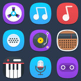 Set of sound and music mobile icons in flat design Stock Photography