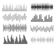 Set of sound music waves. Audio technology musical pulse or sound charts. Music waveform equalizer. Set of sound music waves. Audio technology musical pulse or Royalty Free Stock Images