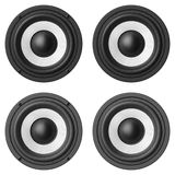 Set of sound speakers isolated on white background Stock Photo