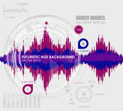 Set sound waves . Audio equalizer technology, pulse musical. Cover for the album or music track. Vector illustration stock illustration