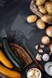 Set with soup`s vegetables. Zucchini, onion, potato, garlic and butter. royalty free stock images