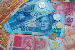 Set of South Africa currency. South African Rand currency and coins background Stock Images