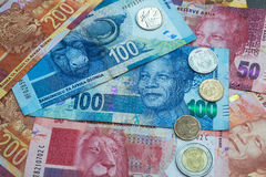 Set of South Africa currency. South African Rand currency and coins background Royalty Free Stock Images