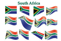 Set of South Africa flags. Vector illustration Stock Images