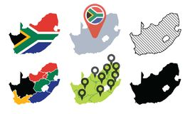 Set of South Africa Vector Map Royalty Free Stock Photos