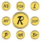 Set with South African Currency Symbols Royalty Free Stock Image