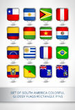 Set of south america colorful glossy flags rectangle pins Royalty Free Stock Photos