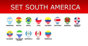 Set South America Flags Royalty Free Stock Photography
