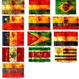 Set of south american flags Royalty Free Stock Image