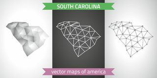 South Carolina set of grey and silver mosaic 3d polygonal maps. Graphic vector triangle geometry outline shadow perspective maps. Set of South Carolina polygonal Royalty Free Stock Image