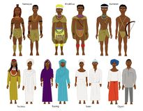 A set of  Southern and West African tribes and people Stock Photo