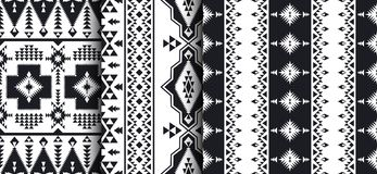 Set of Southwest American, Indian, Aztec, Navajo patterns. Ethnic seamless patterns. Native Southwest American, Indian, Aztec, Navajo print. Black and white royalty free illustration
