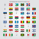Set of sovereign state flags D-J. Set of world sovereign state flags with captions in alphabet order.  There is in addition a vector format (EPS 8 Royalty Free Stock Photos