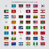 Set of sovereign state flags K-N Royalty Free Stock Photo