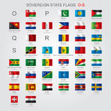 Set of sovereign state flags O-S Stock Image
