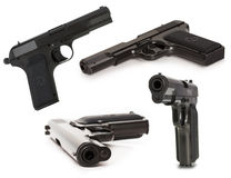 Set of soviet handgun TT (Tula, Tokarev) isolated on the white b Royalty Free Stock Photos