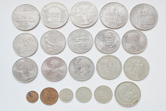 Set of soviet russian anniversary ruble coins, all USSR nominals Stock Photos