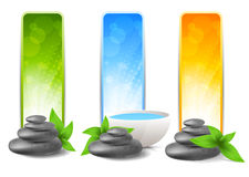 Set of spa banners. With stones and leaves Stock Photo