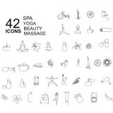 Set of spa, beauty icons in linear style Stock Image