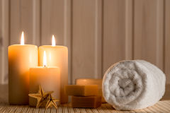 Set for spa and burning candles in   dark. Set for spa and burning candles in the dark Royalty Free Stock Images