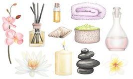 Set SPA element hand drawn watercolor illustration royalty free illustration