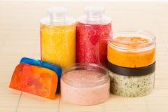 Set for spa. Handmade soap. salt and foam bath Stock Image